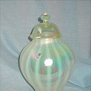 Signed Fenton Glass Vaseline / Yellow Opalescent Stripe Ginger Jar