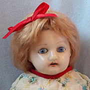 SALE 21&quot; Wax Over Papier-Mache Doll with Leather Rivet Jointed Body