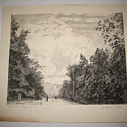 1933 Heinrich Meyer Etching Long Island Pencil Signed & Dated Well Listed
