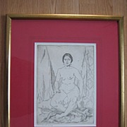 Old Etching by Hugh Lauren Mills Nude with Earrings Pencil Title From Estate