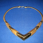 Unusual Vintage Napier Gold Tone Necklace Nice