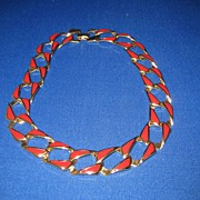 Vintage Red & Gold Tone Napier Enamel Necklace Unusual