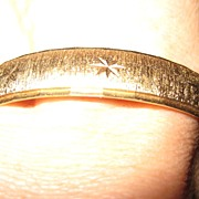 Vintage Monet Bangle Bracelet in Gold Tone w Etched Star Design