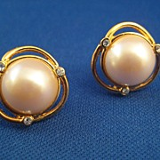 Vintage Circa 1980s Faux Pearl Pierced Earrings w Rhinestones & Gold Tone