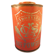 Antique Baking Powder Tin Iron Club Great Stenciled Graphics & Color