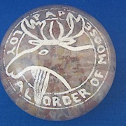 Antique Glass Paperweight Loyal Order of the Moose