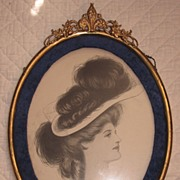 Antique Drawing of Lady by Listed Thomas Mitchell Pierce US