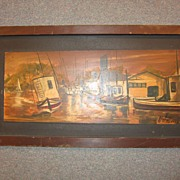 1970s Painting of  Nogs Harbor California Signed Matheson