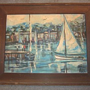1970s Painting of  Bright California Harbor Scene Signed Matheson