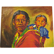 Vintage Thomas E Mails Original Painting Native American Indian Mother & Child