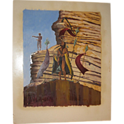 Vintage Thomas E Mails Original Painting Native American Indian Medicine Man & Warrior