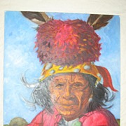 Vintage Thomas E Mails Original Painting Native American Indian Elder in Headdress