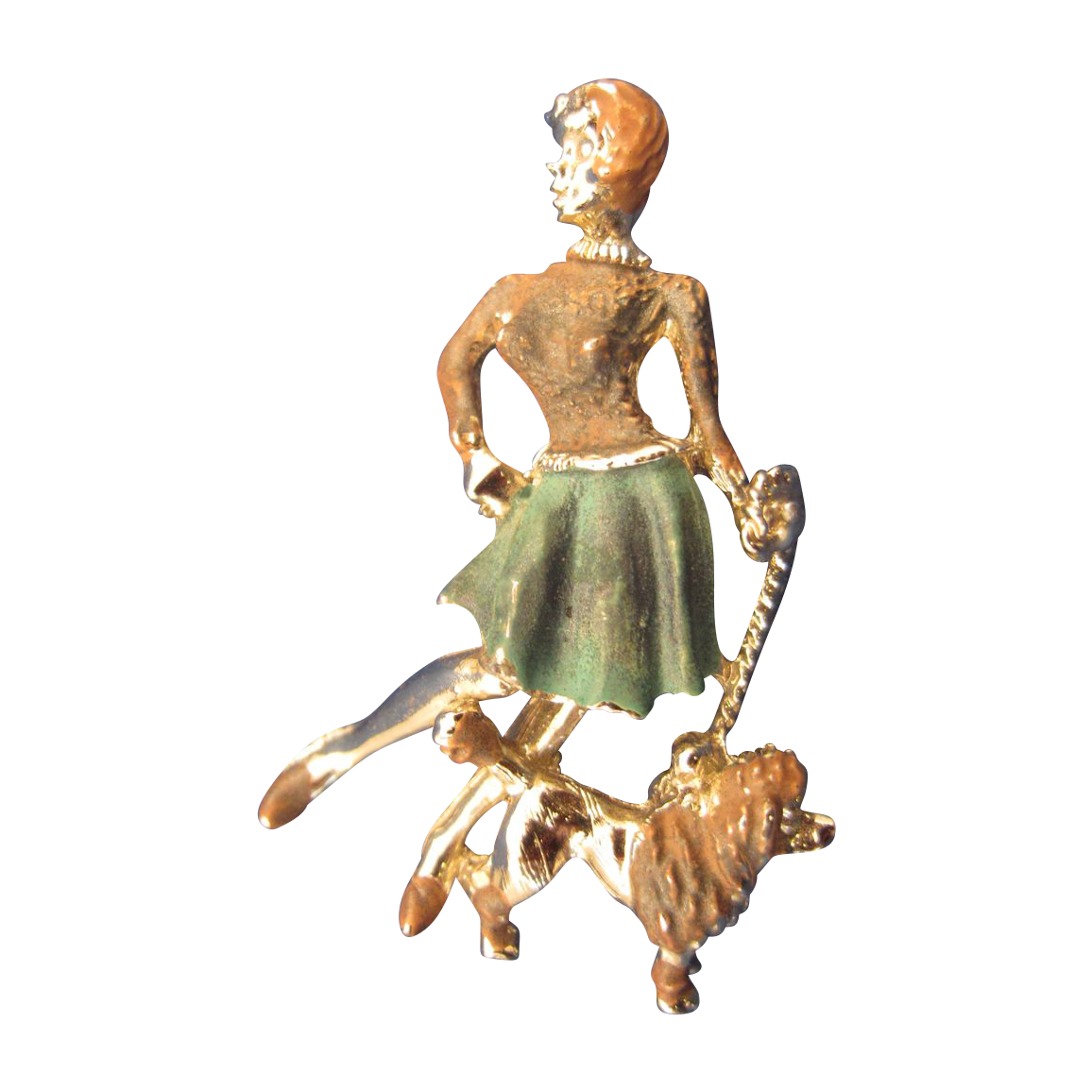 Vintage Costume Pin Lady with Poodle & Skirt Great Design