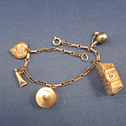 Vintage Sterling Silver 5 Charm Bracelet 1 Puffy Heart & Treasure Chest that Opens