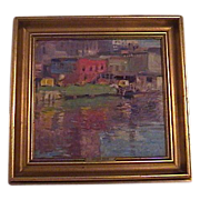 1924 George Raab Painting Great City Scape American