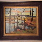 Vintage Original French Landscape Painting by Maurice LeMaitre Painting