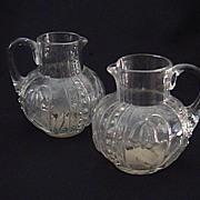Pair Antique Blown Glass Flower Pitchers Beautiful & Unusual