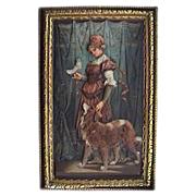 Antique Austrian Bronze Plaque Lady w Animal Friends Dog & Bird Cold Painted