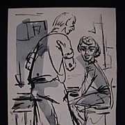 WPA Water Color Lady & Man Great American Signed K. Strange