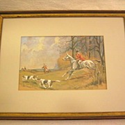 Fabulous Watercolor of English Hunt Scene by Listed R.V. Chate 1958