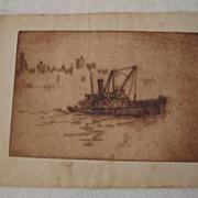 Antique Etching NY Tug Boat Attributed to Major American Artist