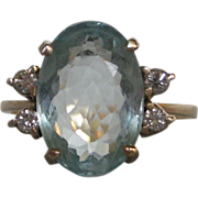 Vintage Aquamarine & Diamond 18k Yellow Gold Ring