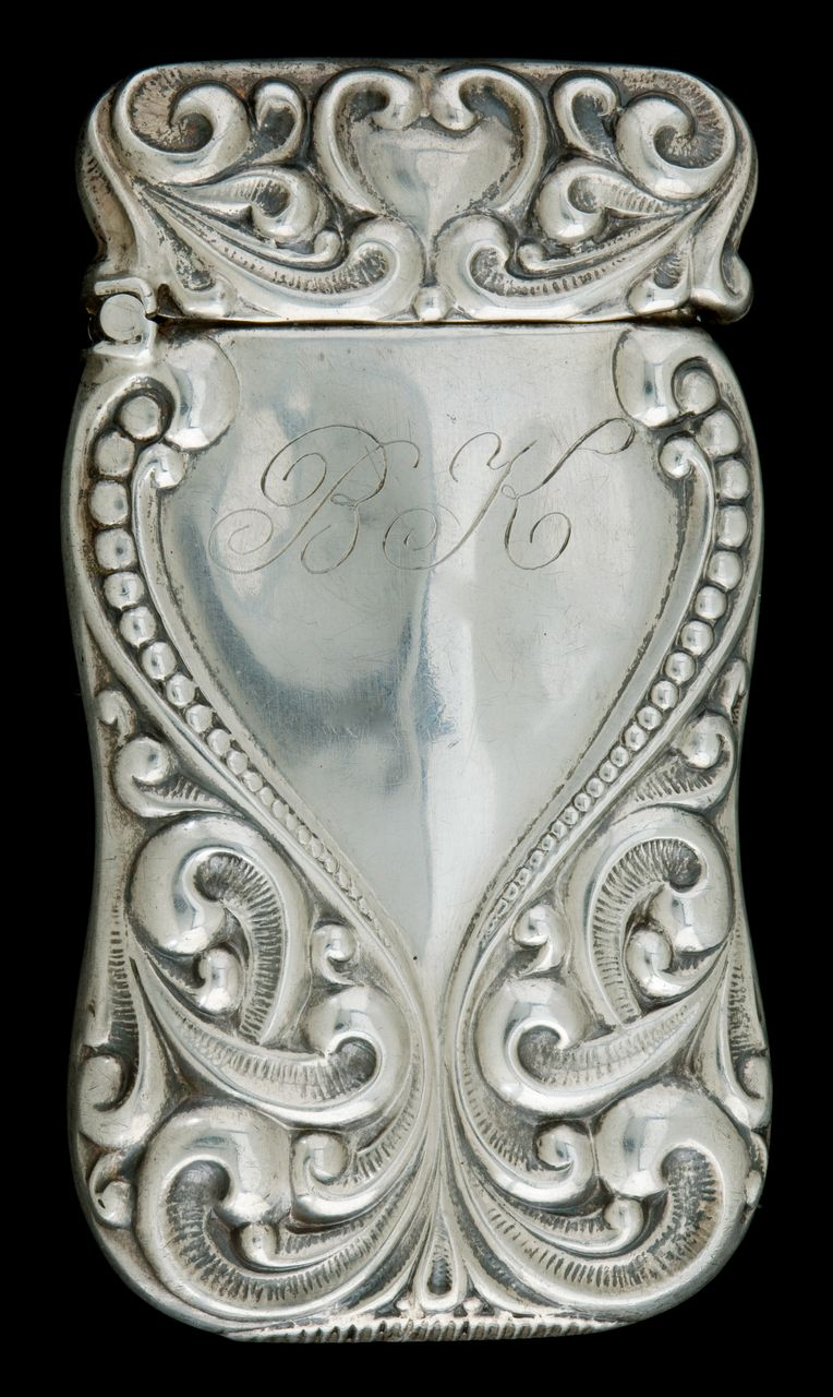 A Sterling Silver Match Safe or Vesta with a Scrolled Arabesque Design