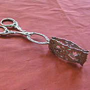 Hanau Silver Pastry Tongs with Foliate Decorations