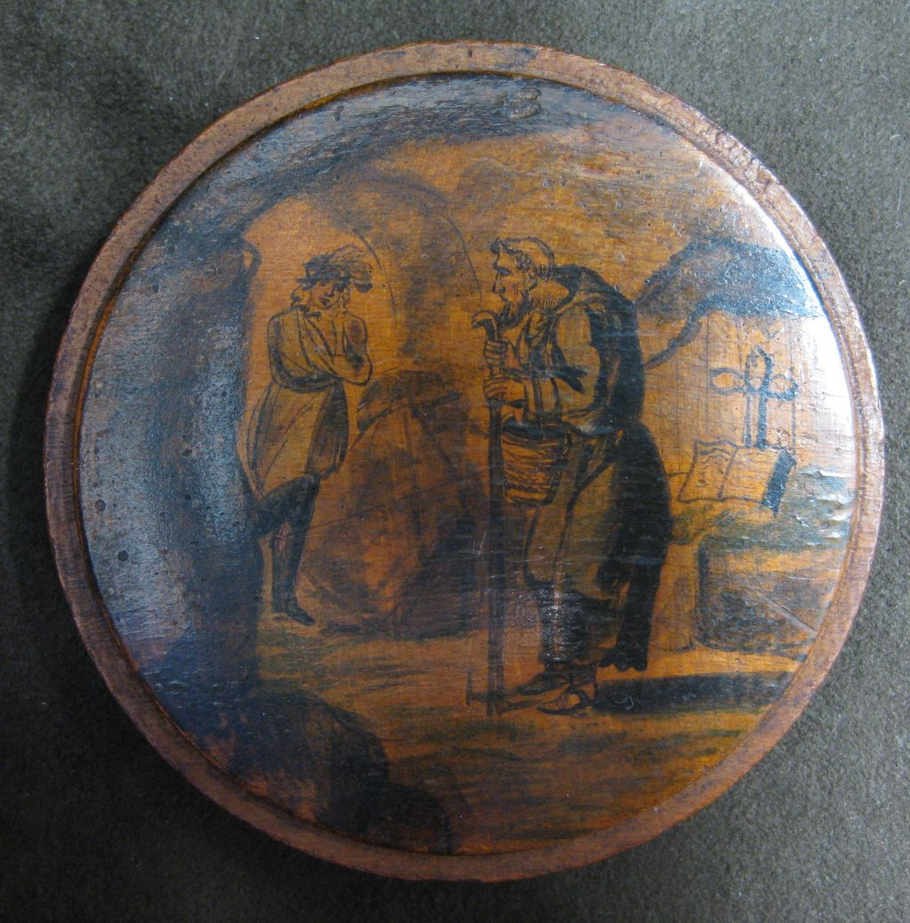 Round German Wooden Snuff Box with a Monk in a Graveyard circa 1750