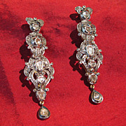 Rose-Cut Diamond 14K Gold and Sterling Silver Foil-Backed Earrings