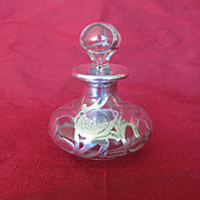 Sterling Silver Overlay Small Glass Stoppered Perfume Bottle, circa 1890s