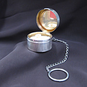 R. Blackinton Sterling Silver Compact with Original Powder Puff and Chatelaine Finger Ring