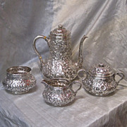 Whiting 4-Piece Sterling Silver Repousse Pattern Coffee Service, circa 1880