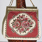 SALE Vintage Floral / Gold Weave Fabric Petit Point Purse