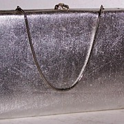 SALE After Five Silver Lame` Clutch & Coin Purse 24 Rhinestone Clasp