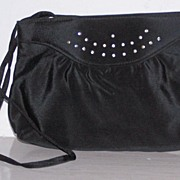 SALE Black Sateen & Rhinestone Shoulder/Clutch