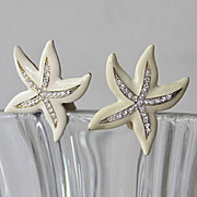 "SALE Kenneth Lane signed crystal starfish earrings  2"" x 2"""