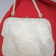 SALE Vintage White Beaded Handbag  Great for a Wedding