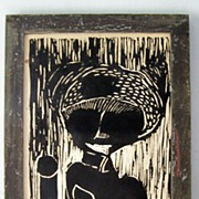 SALE Original Wood Engraving Tribal Woman