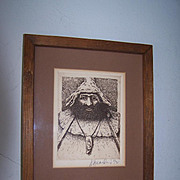 SALE Original Signed & Framed Etching Friar Tuck