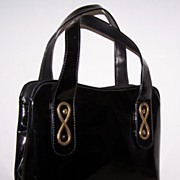 SALE Large Black Patent & Goldtone Vintage Purse