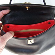 SALE Black Koret Shoulder Bag Lined in Lipstick Red Mint!