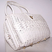 SALE Double-sided Exceptional rattan & leather satchel handbag
