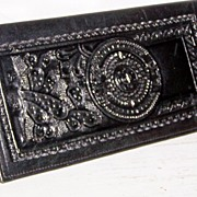 SALE Black Hand Tooled Leather Checkbook Wallet~Mint!