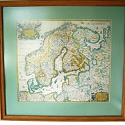 "SALE Vintage Map Framed & Matted 1600 Northern Europe 24""x23"""