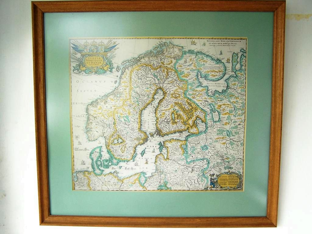 "Vintage Map Framed & Matted 1600 Northern Europe 24""x23"""