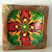 SALE BOLD Enamel over Copper Square Dish