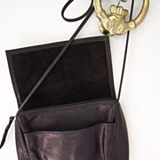 SALE Supple Black Leather Flap Over Cross Body shoulder bag