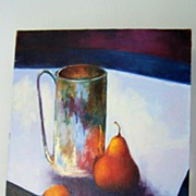 SALE Original Acrylic Still Life Pears Signed by Trevelini