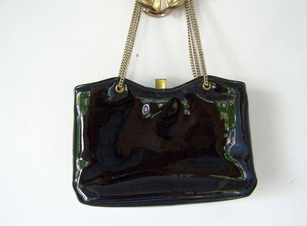 Black Patent Handbag Shoulder Bag  Evening Bag Mint!